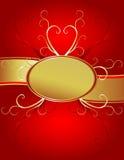 Fondo oval rojo del corazón del oro Imagen de archivo