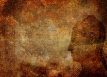 Fondo oxidado del Grunge con Buda Imágenes de archivo libres de regalías