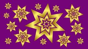 Fondo púrpura con las estrellas 3 del oro Imágenes de archivo libres de regalías