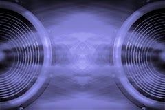 Fondo púrpura de la música de los altavoces de audio Fotos de archivo libres de regalías