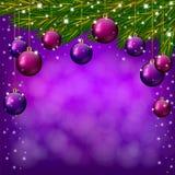 Fondo púrpura de la Navidad Foto de archivo