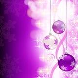 Fondo púrpura de la Navidad con las decoraciones Fotografía de archivo