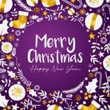 Fondo púrpura de oro de la Feliz Año Nuevo de la Feliz Navidad ilustración del vector
