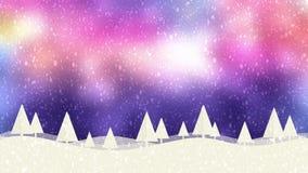 Fondo púrpura del bokeh de la nieve y de los árboles de navidad HD libre illustration