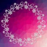 Fondo púrpura del triángulo con el marco floral clásico del círculo ilustración del vector