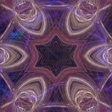 Fondo púrpura generado por ordenador con adorno simétrico de la estrella Foto de archivo libre de regalías