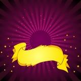 Fondo púrpura. Oro Baner. Fotografía de archivo
