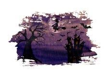 Fondo púrpura oscuro de la noche de Halloween con el vuelo travieso de la bruja en la escoba, el árbol muerto terrible, el castil ilustración del vector