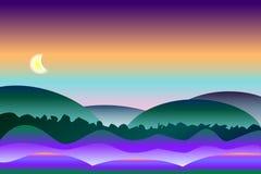 Fondo pacífico y colorido del paisaje de la noche ilustración del vector