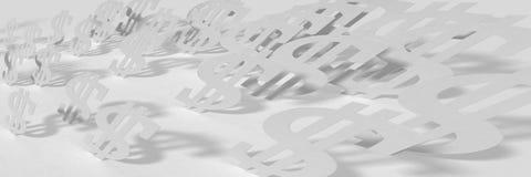 Fondo panorámico ancho blanco del extracto con los dólares libre illustration