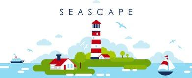 Fondo panorámico del paisaje del mar con el faro en estilo plano stock de ilustración