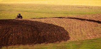 Fondo panorámico del tractor Imagen de archivo
