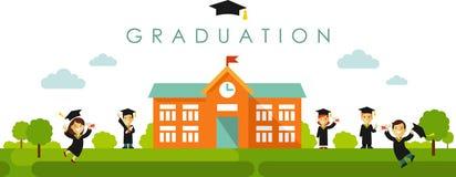 Fondo panorámico inconsútil con concepto de la graduación en estilo plano stock de ilustración