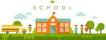 Fondo panorámico inconsútil con la construcción de escuelas en estilo plano