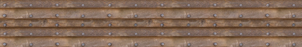 Fondo panoramico dei pannelli orizzontali di legno con i ribattini del metallo su fondo isolato Fotografie Stock