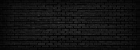 Fondo panoramico del muro di mattoni nero Immagine Stock Libera da Diritti