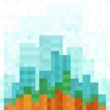 Fondo panoramico moderno di paesaggio urbano del pixel royalty illustrazione gratis