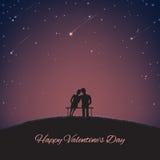 Fondo para el día de tarjeta del día de San Valentín del St con los amantes y el cielo del nigth Foto de archivo