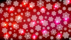 Fondo para el humor del Año Nuevo Feliz Navidad Copos de nieve y chispas en tonos rojos Da un cosiness festivo ilustración del vector