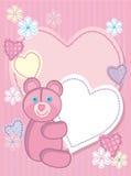 Fondo para felicitar por un oso y un corazón Imagenes de archivo