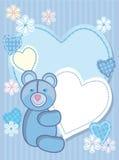 Fondo para felicitar por un oso y un corazón Imágenes de archivo libres de regalías