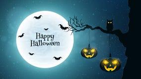 fondo para Halloween El búho negro se sienta en un árbol Los palos vuelan contra la perspectiva de la Luna Llena Calabazas de Hal Foto de archivo libre de regalías