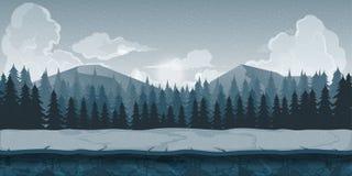 Fondo para los apps de los juegos o el desarrollo móvil Paisaje de la naturaleza de la historieta con el bosque y las montañas Il stock de ilustración
