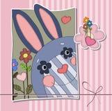 Fondo para los niños con las liebres, las flores y los corazones Libre Illustration