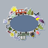 Fondo para los niños con los coches, los pájaros y las flores Foto de archivo libre de regalías
