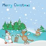 Fondo para un tema de la Navidad con el muñeco de nieve y los gatos Imágenes de archivo libres de regalías