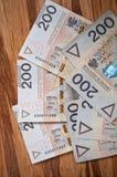 Fondo a partir del zloty polaco el 200 Fotografía de archivo libre de regalías