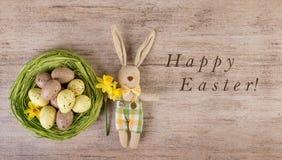 Fondo Pascua feliz del día de fiesta del vintage del conejito de pascua Foto de archivo