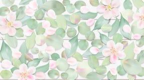 Fondo pastello con le foglie del fiore illustrazione di stock