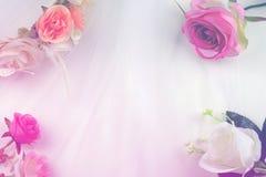 Fondo pastello romantico di nozze con le rose Fotografia Stock
