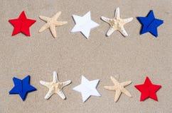 Fondo patriótico de los E.E.U.U. con las estrellas de mar Fotos de archivo