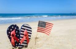 Fondo patriótico de los E.E.U.U. en la playa arenosa Imagen de archivo