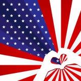 Fondo patriottico della bandiera americana con le stelle e concetto creativo delle bande dei raggi sulla festa dell'indipendenza  illustrazione vettoriale