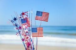 Fondo patriottico di U.S.A. sulla spiaggia sabbiosa Fotografia Stock Libera da Diritti