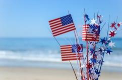 Fondo patriottico di U.S.A. sulla spiaggia sabbiosa Immagini Stock