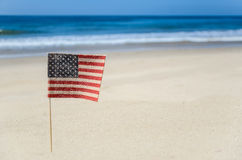 Fondo patriottico di U.S.A. sulla spiaggia sabbiosa Fotografia Stock