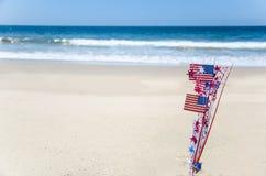 Fondo patriottico di U.S.A. sulla spiaggia sabbiosa Immagini Stock Libere da Diritti