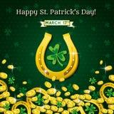 Fondo per il giorno della st Patricks con le monete a ferro di cavallo e dorate Fotografia Stock Libera da Diritti