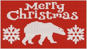 Fondo per l'umore del nuovo anno Buon Natale Immagine tricottata pullover Orso e fiocchi di neve Crea il calore Fotografia Stock