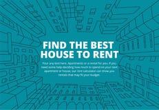 Fondo per testo sull'affitto dello schizzo del bene immobile Condominio nel telaio del cerchio Linea blu disegnata a mano piano Immagine Stock Libera da Diritti
