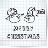 Fondo per un tema di Natale con i pupazzi di neve Fotografia Stock Libera da Diritti