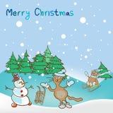 Fondo per un tema di Natale con il pupazzo di neve ed i gatti Immagini Stock Libere da Diritti