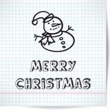 Fondo per un tema di Natale con il pupazzo di neve nello stile Fotografia Stock Libera da Diritti