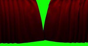 Fondo perfectamente rojo de alta calidad del movimiento de la abertura de la cortina de la animación Pantalla verde incluida ilustración del vector