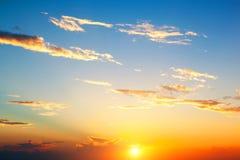 Fondo perfecto del cielo de la puesta del sol Foto de archivo libre de regalías