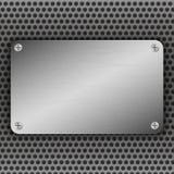 Fondo perforato del metallo con il piatto ed i ribattini Struttura metallica del grunge Acciaio spazzolato, modello di superficie Fotografie Stock
